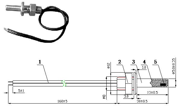 Threaded brass screw-in NTC thermistor temperature sensor